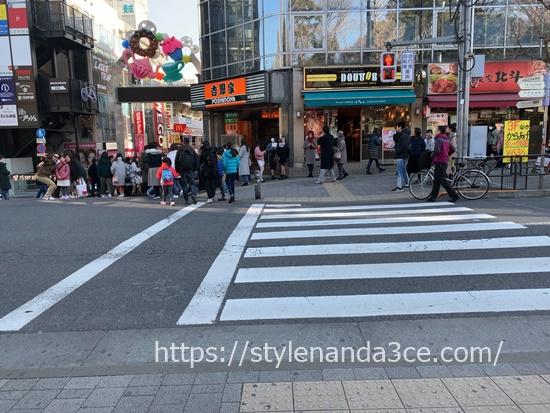 スタイルナンダ原宿店行き方駅近くの横断歩道